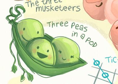 """Three Peas in a Pod"" illustration"
